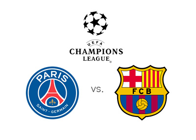 UEFA Champions League matchup - Paris Saint-Germain vs. Barcelona FC - Tournament logo and team crests - Matchup - Odds to Win