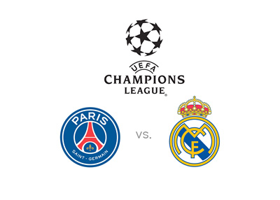 UEFA Champions League - Paris Saint-Germain vs. Real Madrid - Matchup, tournament logo and team badges - Preview and odds