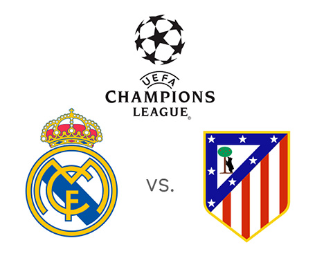UEFA Champions League - Real Madrid vs. Atletico - Tournament Logo and Team Crests / Badges - Large Size Image - Matchup