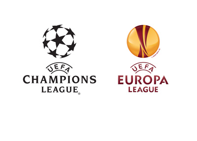 The UEFA Champions League and UEFA Europa League logos - 2015/16 season