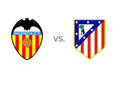 Football Matchup - Valencia vs. Atletico Madrid - Spanish La Liga - Team Logos