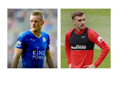 Jamie Vardy and Antoine Griezmann - Collage - Year 2016 - Leicester City and Atletico Madrid