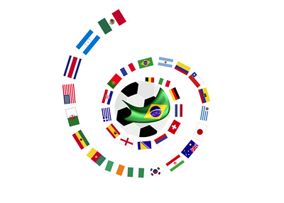 The flags of nations participating in the World Cup 2014 in Brasil - Illustration