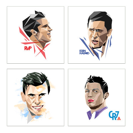 Drawings / Illustrations of famous football faces - Robin van Persie, Eden Hazard, Gareth Bale and Cristiano Ronaldo
