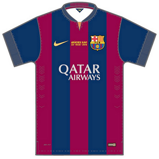 Xavi last La Liga game for Barcelona FC - Special shirt / jersey