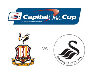 Bradford City vs. Swansea City - Capital One Cup finals - Team and tournament logos - Matchup