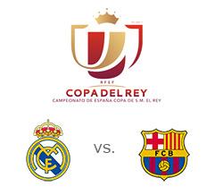 Copa del Rey semi-final matchup - Real Madrid vs. Barcelona - 1st leg - El Clasico - Team and tournament logos