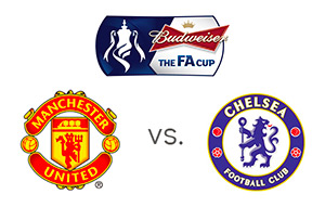 FA Cup - Manchester United vs. Chelsea - Tournament and Team logos