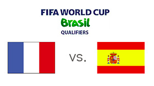 FIFA World Cup Qualifiers - France vs. Spain - Matchup and Flags