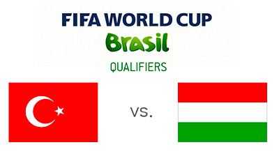 FIFA World Cup Brazil qualifiers - Turkey vs. Hungary - Matchup and flags