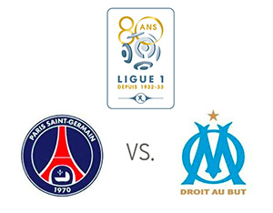Ligue 1 matchup - PSG vs. Marseille - Team logos