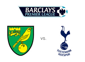 Norwich vs. Tottenham - Round 24 of the English Premier League - January 30th, 2013 - League and Team logos