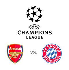 UEFA Champions League matchup - Arsenal vs. Bayern Munich - Team and tournament logos