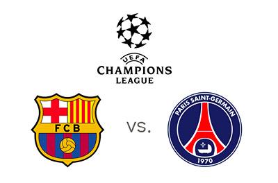 UEFA Champions League - Barcelona vs. PSG - Matchup and Team Logos