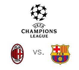 UEFA Champions League matchup - AC Milan vs. Barcelona - Logos