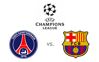 UEFA Champions League - PSG vs. Barcelona - Matchup and Team Logos
