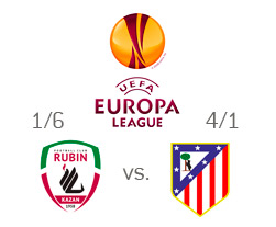 Rubin Kazan vs. Atletico Madrid - Odds to Qualify - Team Logos