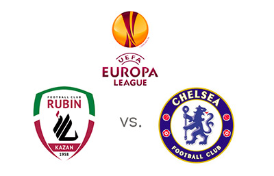 UEFA Europa League matchup - Rubin Kazan vs. Chelsea FC - Team and tournament logos - Matchup