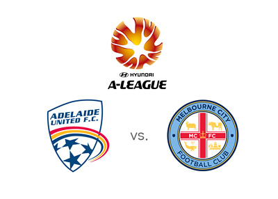 Australian A-League matchup - Adelaide United vs. Melbourne City - Game odds, tournament logo and team crests