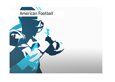 American football player abstract image.  Polygon style art in blue colour.