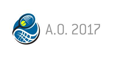 The Australian Open 2017 - Concept logo - Yellow ball, blue court.  Illustration.