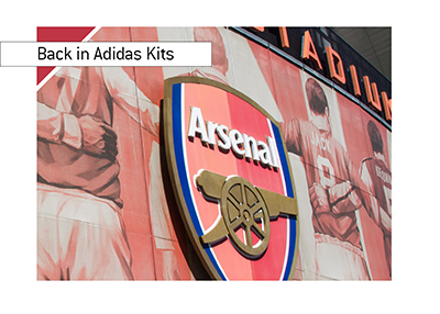 Arsenal FC are back in Adidas kits starting in 2019/20 season.  Emirates stadium photo.