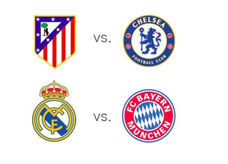 Atletico Madrid vs. Chelsea FC and Real Madrid vs. Bayern Munich - UEFA Champions League semi finals - first leg - Team Logos