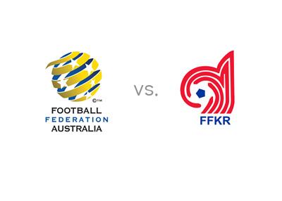 World Cup 2018 Qualifying matchup - Australia vs. Kyrgyzstan - Matchup and team logos