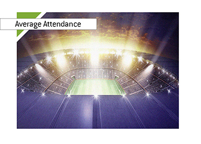 Average attendance in football and sports in general.  Year is 2018.