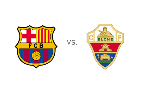 Barcelona vs. Elche - Spanish La Liga - BBVA - Team Logos / Crests