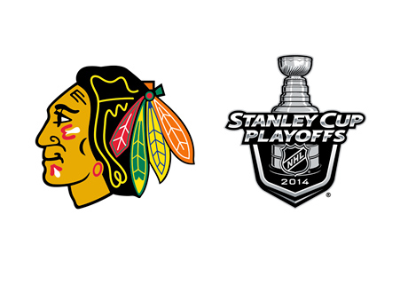 Chicago Blackhawks logo next to the Stanley Cup 2014 logo