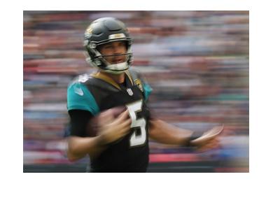 Blake Bortles - Jacksonville Jaguars quarter back.  2017/18 season.  In action.  Literarily.