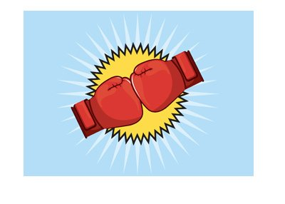 Vector style drawing representation of a big boxing match.  Two gloves colliding.  Bang.  Mikey Garcia vs. Adrien Broner.
