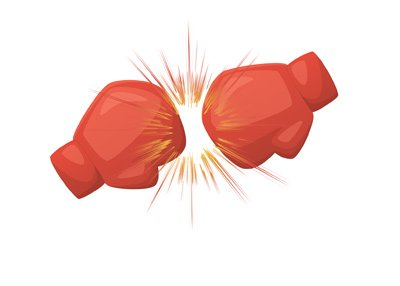 Boxing match - Two red gloves collide.