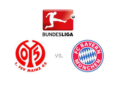 The 2016/17th season of the German Bundesliga - Mainz vs. Bayern Munich - Matchup, logos and game preview.