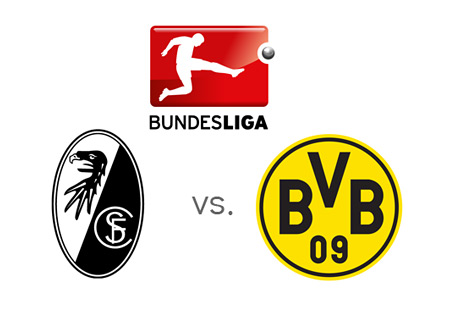 Bundesliga Matchup - Freiburg vs. Borussia Dortmund - Team Badges and German League Logo
