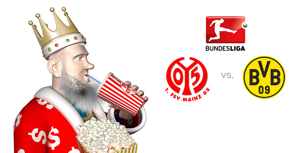 The King, while eating popcorn, presents the latest German Bundesliga machup - Mainz vs. Borussia Dortmund - Coming up later today!
