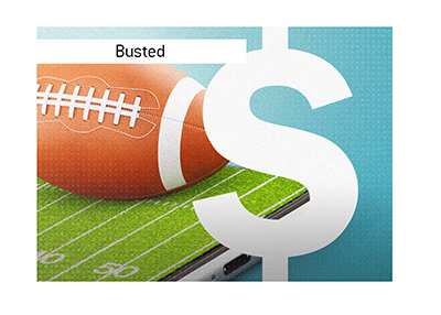 A football player gets busted betting on games while nursing his injury.  Illustration.