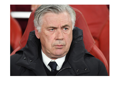 Ex Real Madrid coach and now at Bayern Munich, Carlo Ancelotti, in a serious pose.  The year is 2017.