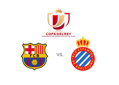 Copa del Rey - Barcelona FC vs. Espanyol - Spanish Cup - Copa del Rey - Tournament logo and team badges - Matchup
