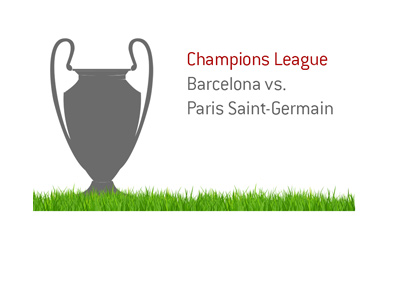 The Champions League match between Barcelona and Paris Saint-Germain.  Trophy illustration.
