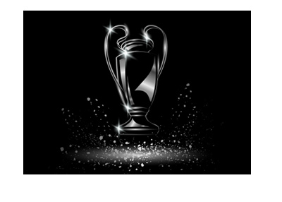 The UEFA Champions League trophy - Illustration on black background.