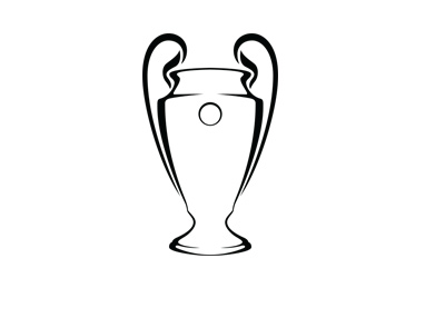 The Champions League trophy - Silhouette - Black and white - Year 2017.