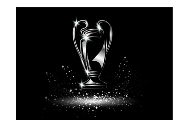 The illustration of the Champions League trophy on black background.