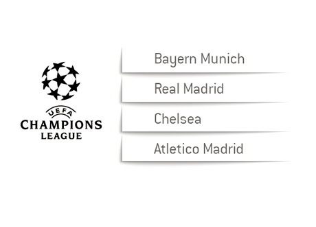 The UEFA Champions League 2014 Draw Slips - Bayern Munich, Real Madrid, Chelsea FC and Atletico Madrid