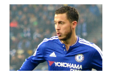 Chelsea midfielder Eden Hazard in action.  Long sleaves blue.
