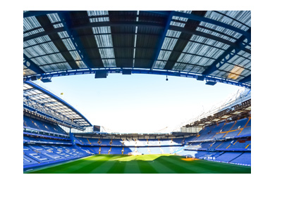 Chelsea FC Stamford Bridge Stadium.  Photo taken from empty stands.  Year is 2017.