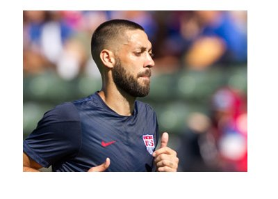 USA national team star player Clint Dempsey in full focuse before the match.  Panama coming up.