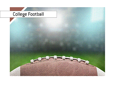 College football - Concept illustration.  Stadium lights and a ball in the foreground.