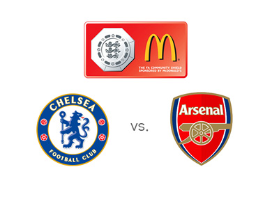 The Football Association - Community Shield - 2015 - Chelsea vs. Arsenal - Tournament logo and team badges - Preview and Odds